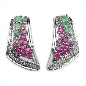 Emerald And Ruby Earrings