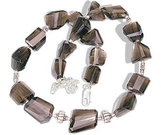 Gray Smoky Quartz Silver Setting Necklaces 16 Inches