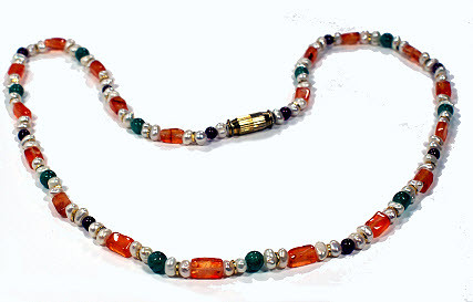 Carnelian Pearl Aventurine Necklace 17 Inches Long