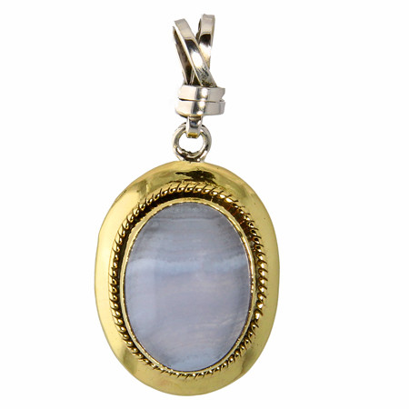 Blue Lace Agate Brass And Silver Pendant