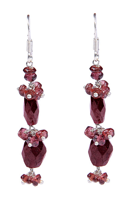 Beaded garnet dangling small and large beads earrings silver