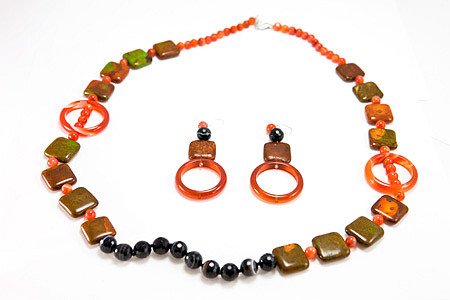 Banded Onyx, Mohave And Carnelian Necklace