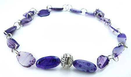 Purple Banded Onyx Necklace