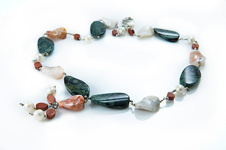 Jasper, Agate, Pearl And Goldstone Necklace