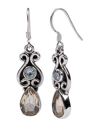 Blue And Smoky Quartz Earrings