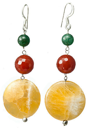 Yellow Lace Agate, Carnelian And Aventurine Earrings