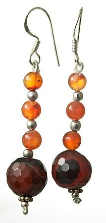 Banded Onyx And Carnelian Earrings