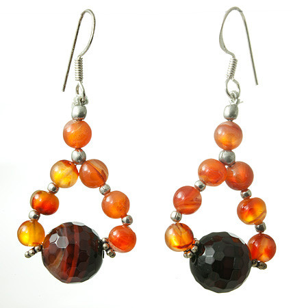 Banded Onyx And Carnelian Earrings 2