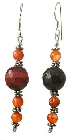 Banded Onyx And Carnelian Earrings 3