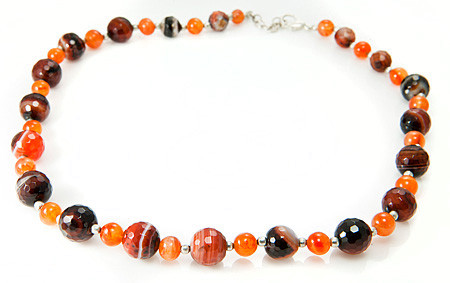 Banded Onyx And Carnelian Necklace