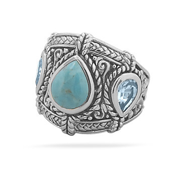 Oxidized Turquoise and Blue Topaz Ring