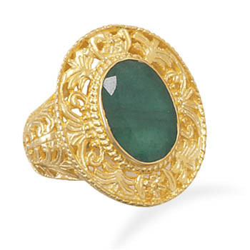14k Gold Plated Rough Cut Emerald Ring