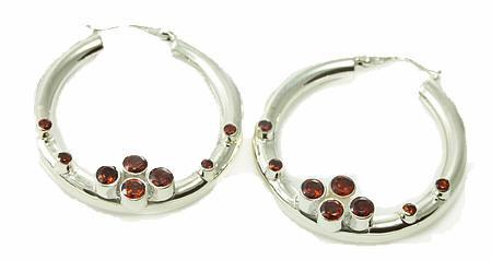 Hoop Garnet Earrings 2