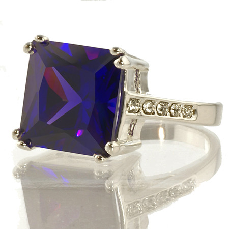 Purple CZ and Crystal Ring