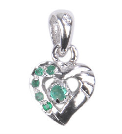 Faceted Emerald Heart Pendant