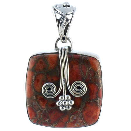 Red Copper Turquoise Pendant 7