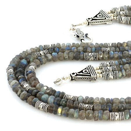 Multistrand Faceted Labradorite Necklace
