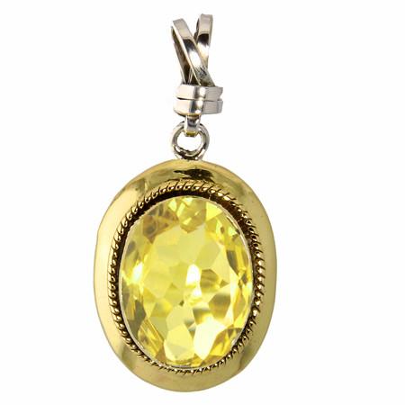 Brass And Silver Lemon Quartz Pendant