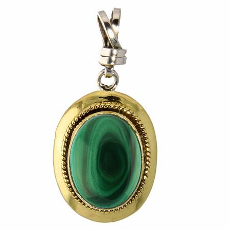 Brass And Silver Malachite Pendant