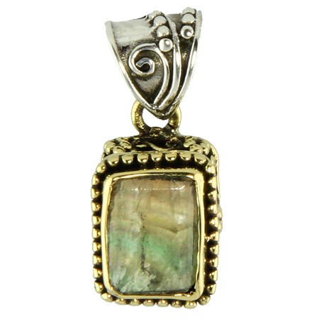 Silver And Brass Fluorite Pendant