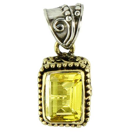 Silver And Brass Lemon Quartz Pendant