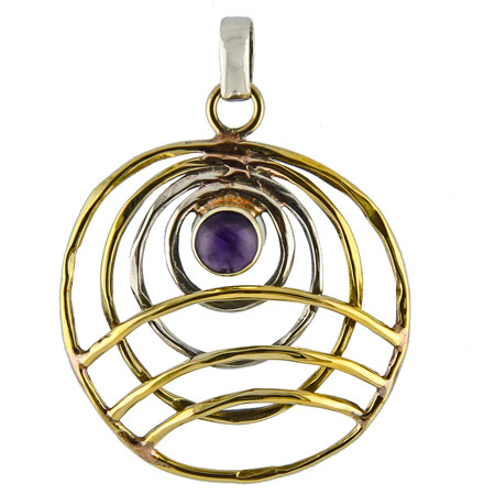 Silver And Brass Amethyst Pendant 2