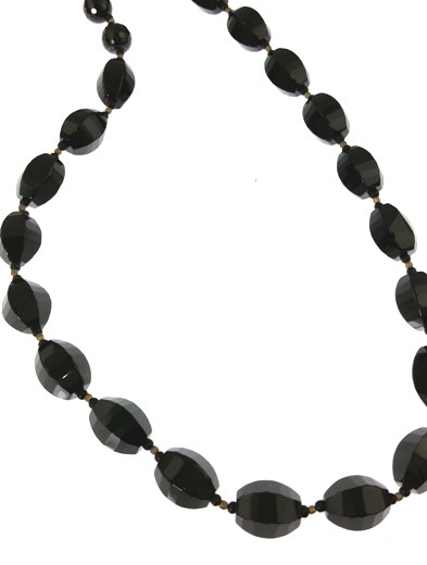 Black Gray Onyx Gemstones Classic Necklaces 17 Inches