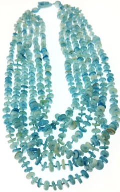 Blue Mother-of-pearl Gemstones Necklaces 30 Inches
