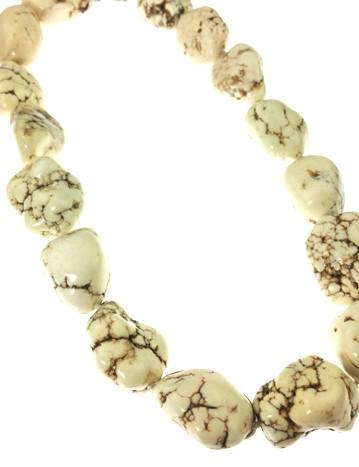 White Howlite Gemstones Necklaces 30 Inches