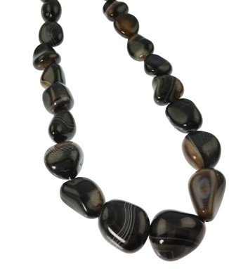 Black Banded Onyx Gemstones Necklaces 16 inches