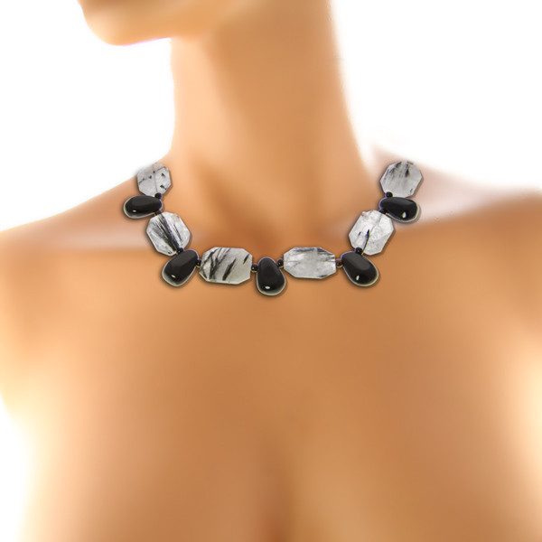 Black Gray Tourmalated Quartz Black Onyx Silver Setting Necklaces