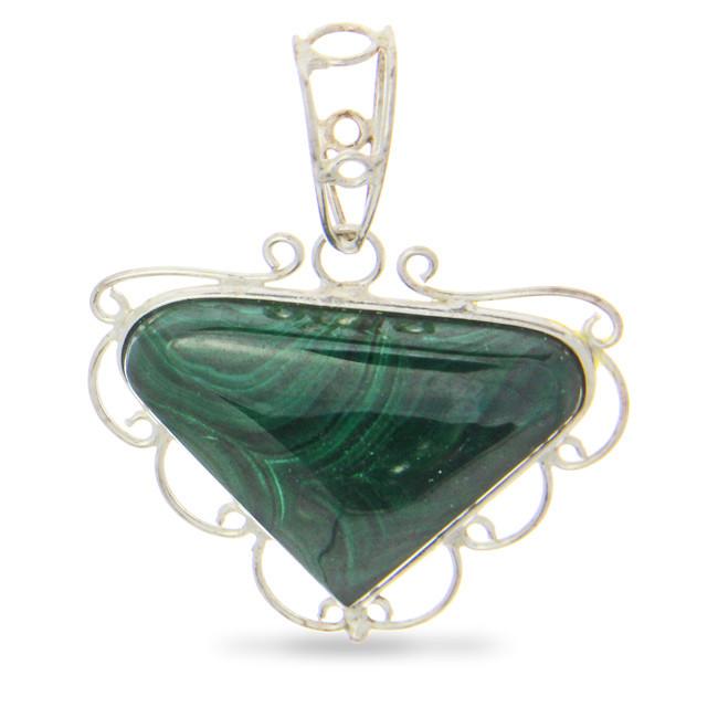 Green Malachite Silver Setting Pendants