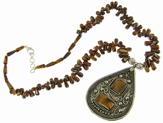 Brown Tiger Eye Silver Setting Pendant Necklaces