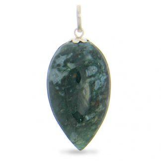 Green Moss Agate Silver Setting Healing