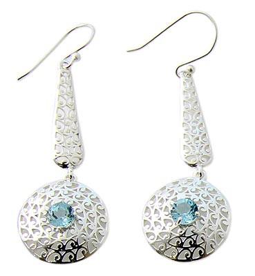 Blue Topaz Silver Setting Earrings