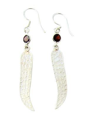 Red Garnet Silver Setting Earrings