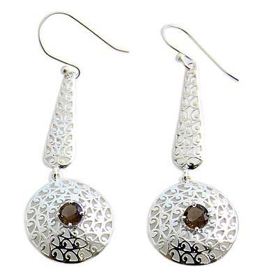 Black Smoky Quartz Silver Setting Earrings