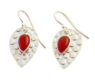 Orange Carnelian Silver Setting Earrings