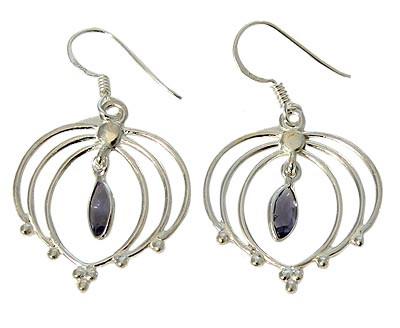 Purple Iolite Silver Setting Earrings