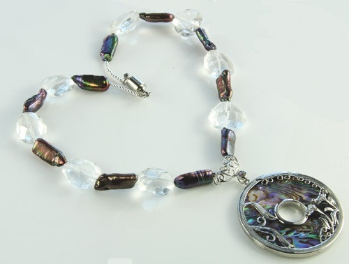 Brown White Abalone Crystal Silver Setting Necklaces