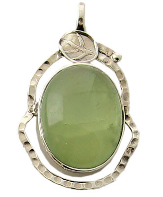 Green Prehnite Silver Setting Pendants