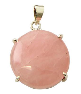 Pink Rose Quartz Silver Setting Pendants