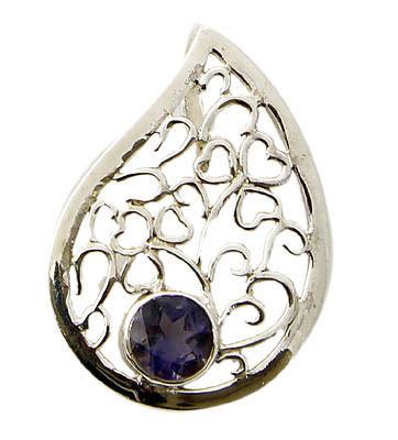 Blue Iolite Silver Setting Pendants