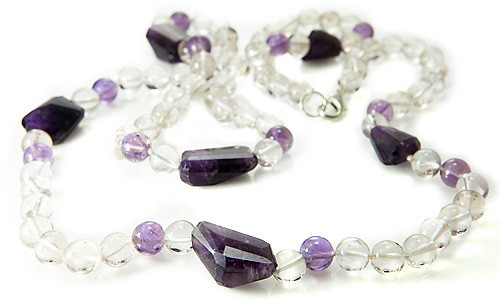 Purple White Amethyst Crystal Silver Setting Necklaces