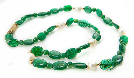 Green Aventurine Silver Setting Necklaces