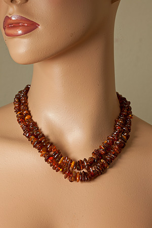 Brown Amber Silver Setting Necklaces