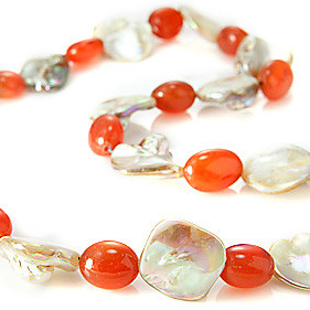 Orange White Mother-of-pearl Carnelian Silver Setting Necklaces