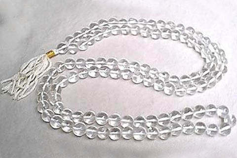 White Crystal Quartz Beaded Rosary Necklaces 36 Inches