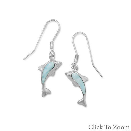 Blue Larimar Silver Setting Drop Earrings 1.4 Inches