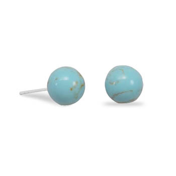 Blue Larimar Beaded Post Earrings 0.31 Inches